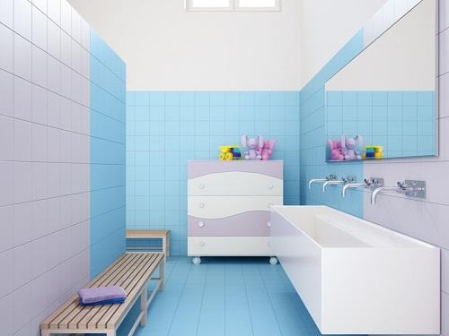 tường màu xanh nên lát gạch màu gì 5
