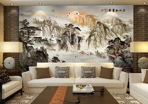 gạch ốp tường 3d phòng khách-2