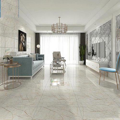Mẫu gạch lát nền phòng khách nhà ống có kích thước 50x50 đẹp nhất hiện nay với bề mặt men bóng.