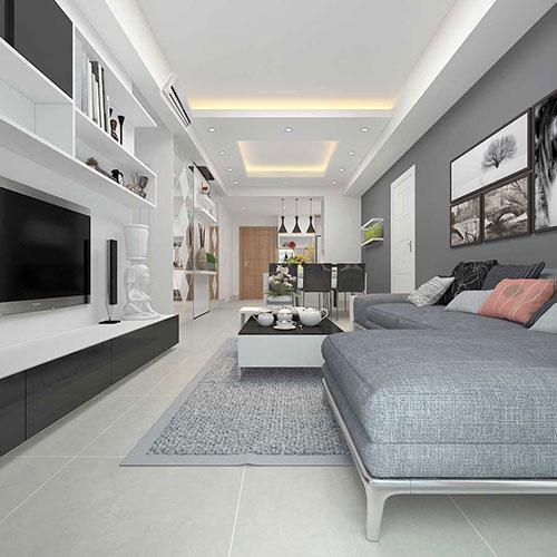 Mẫu gạch lát nền phòng khách nhà ống 60x60 HOT nhất 2020