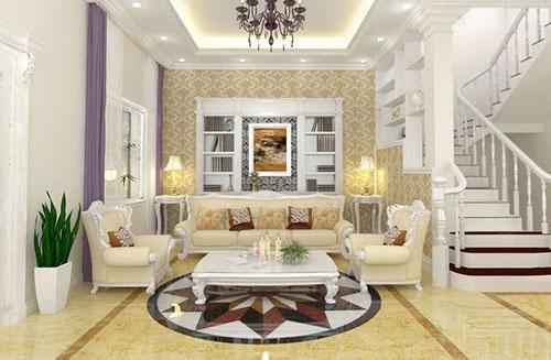 Gạch lát bề mặt men bóng, tông màu sáng rất phù hợp cho phòng khách nhà bạn.